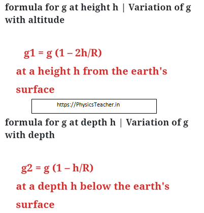 how acceleration due to gravity changes with height and depth