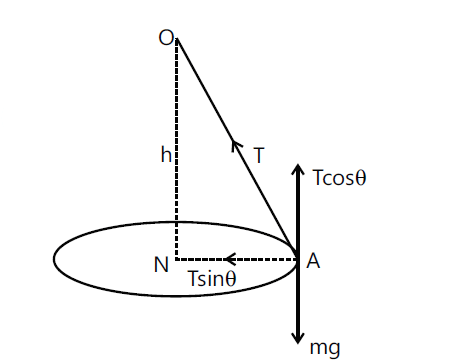 conical pendulum in a diagram with tension in the string and its components