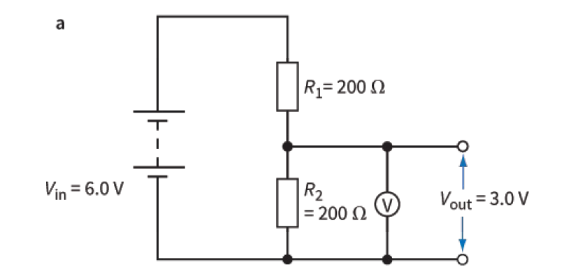 Potential divider with fixed resistors