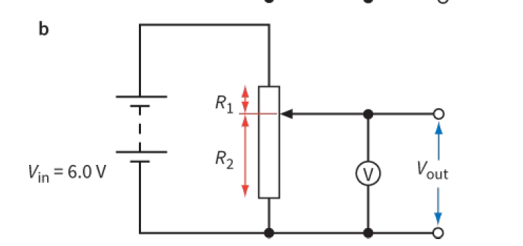 Potential divider with a variable resistor