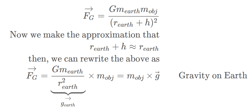 mathematically showing the equation of the Gravity on the Earth's Surface = mg