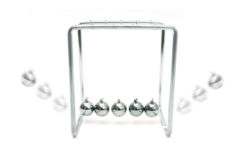 Newton's Cradle apparatus is a very familiar example of momentum conservation.
