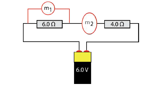 Ammeter and Voltmeter connected to a circuit
