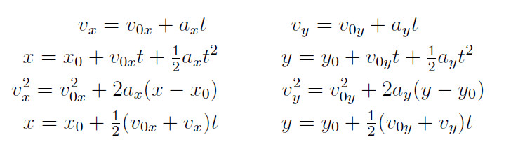 2 dimensional Motion equations in vector format with Constant Acceleration