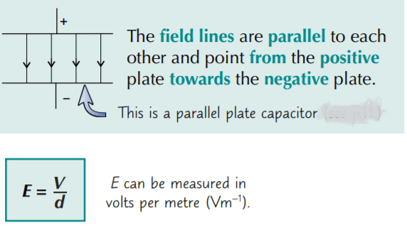 A uniform field can be produced by connecting two parallel plates to the opposite poles of a battery: The field strength between two parallel plates depends on the potential difference between the plates, V, and the distance, d, between them, according to the equation: E = V/d