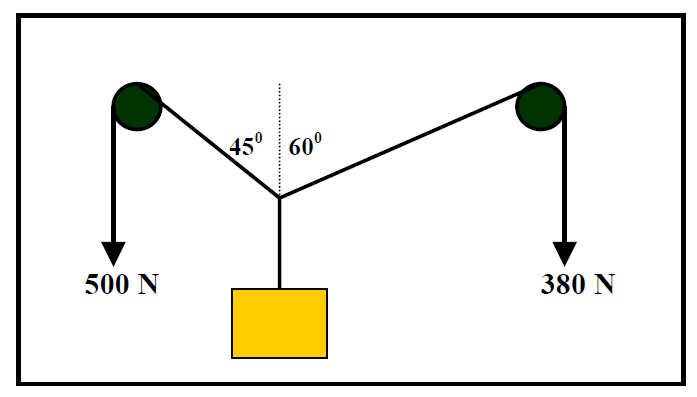 Vector physics numerical set 1: Q5 supporting diagram