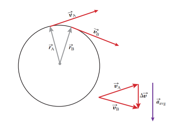 Figure 3: As the time elapsed gets smaller, so does the displacement between the two points; the acceleration vector, being parallel to Δv remains perpendicular to Δr.