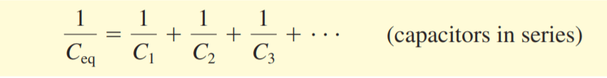 the formula of the reciprocal of the equivalent capacitance of capacitors connected in series