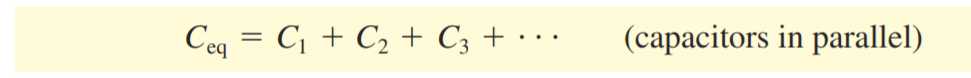 the formula of the equivalent capacitance of capacitors connected in parallel
